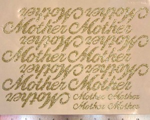 "The ""Mother"" large script sheet shows how many words are included."